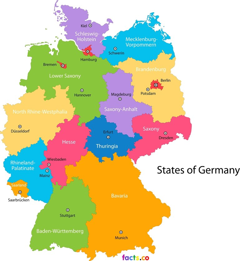 German State Map And Travel Information | Download Free German State Map throughout German States Map