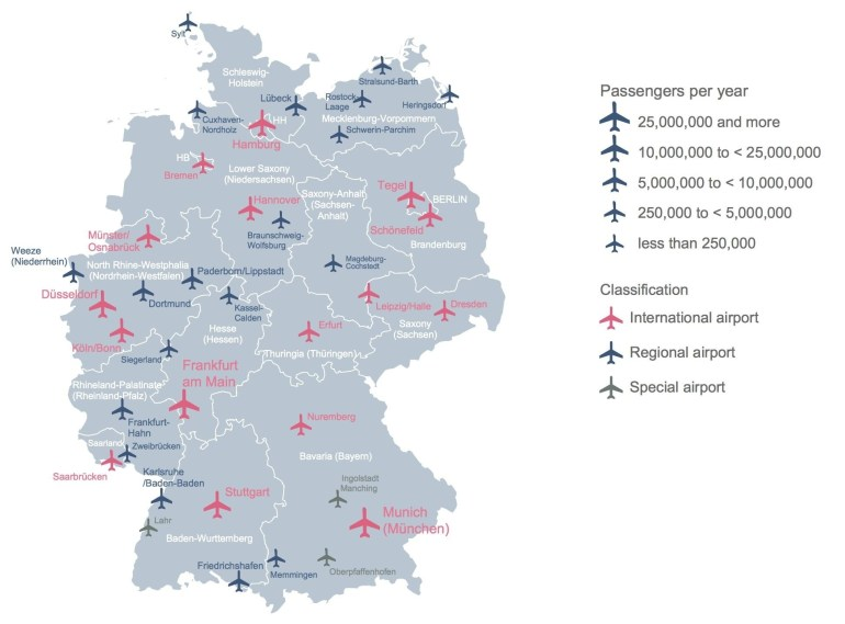 Germany Airport Map - Map Of Germany Showing Airports (Western in International Airports In Germany Map
