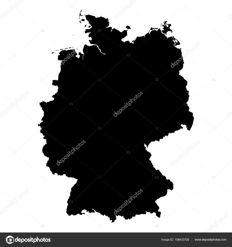 Germany Black Silhouette Map Outline Isolated On White 3D intended for Germany Map Outline