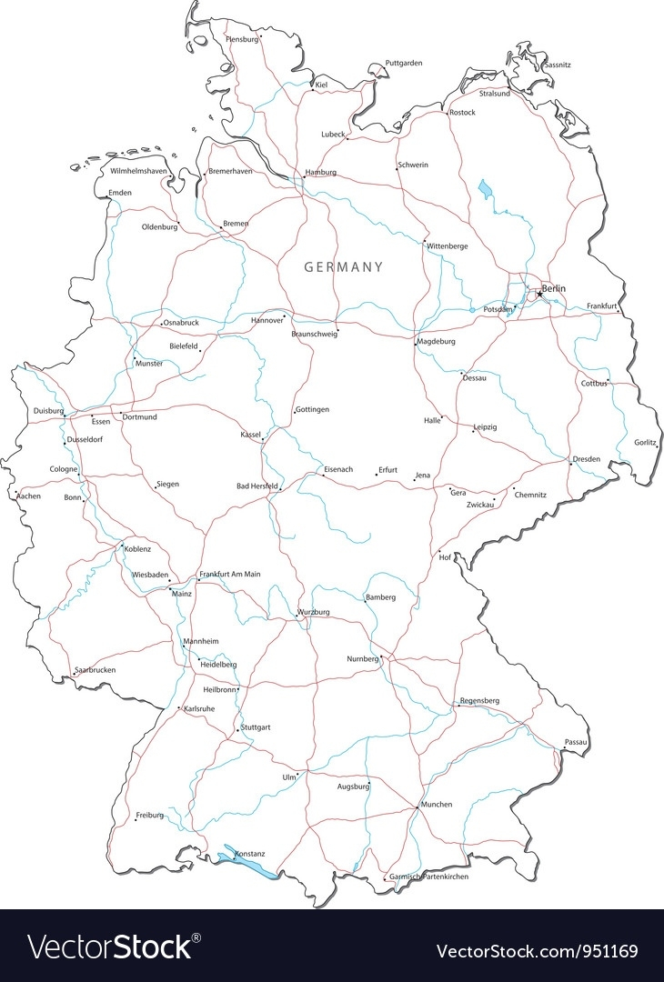 Germany Black White Map intended for Germany Map Black And White