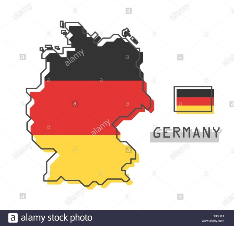 Germany Map And Flag . Modern Simple Line Cartoon Design . Vector within Cartoon Map Of Germany