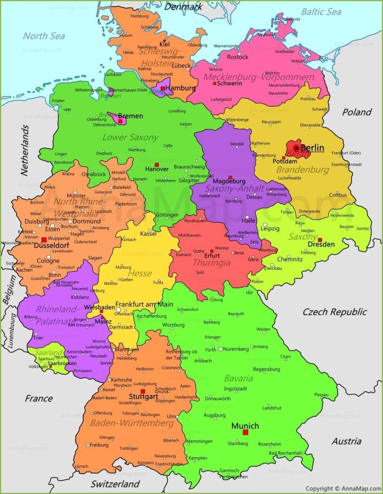Germany Map | Germany Political Map - Annamap for Germany Map