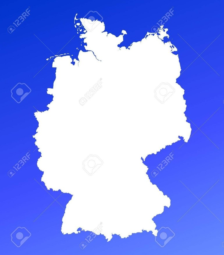 Germany Map On Blue Gradient Background. High Resolution. Mercator.. regarding Germany Map High Resolution