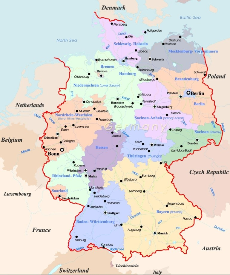 Germany Map - Travel with regard to Germany In Map Of Europe