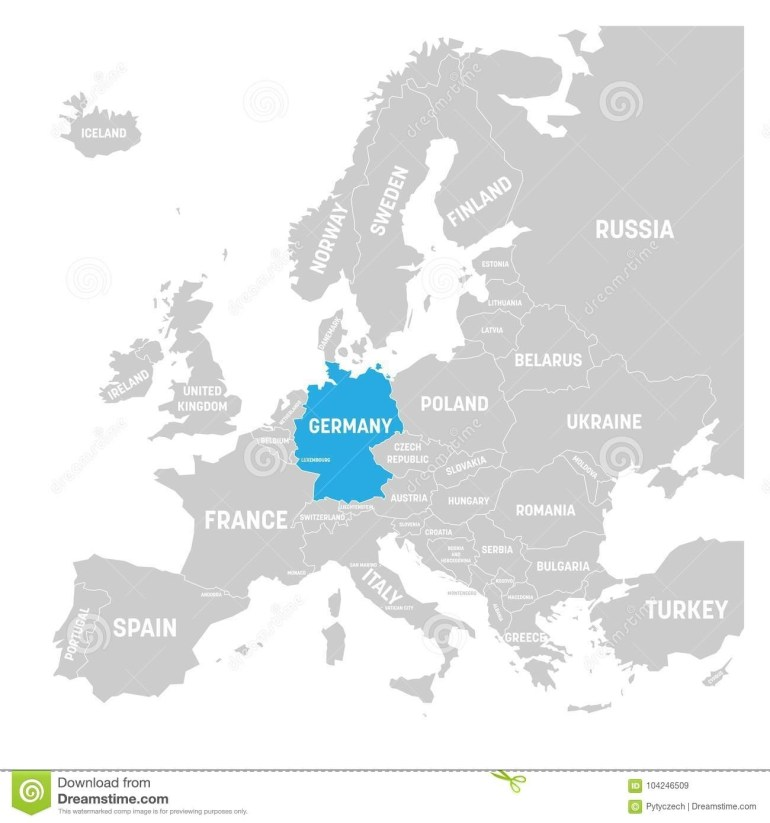 Germany Markedblue In Grey Political Map Of Europe. Vector intended for Germany In World Map Political