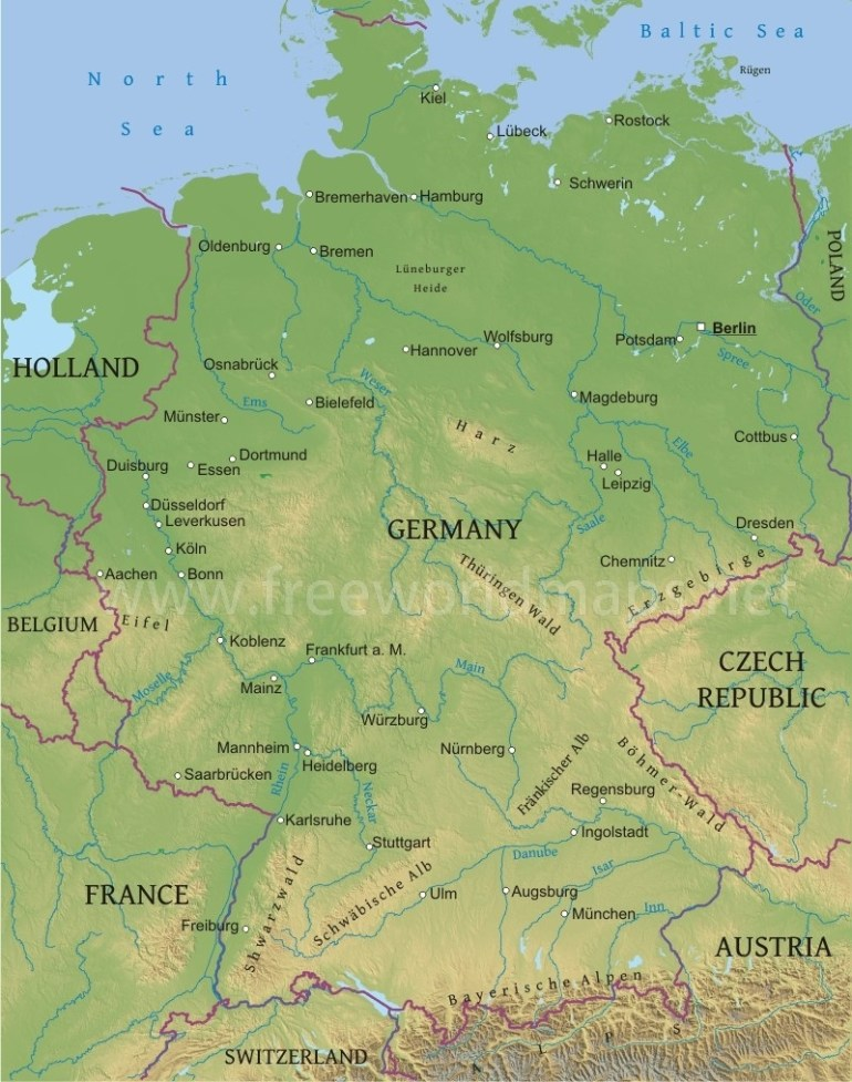 Germany Physical Map throughout German Rivers Map