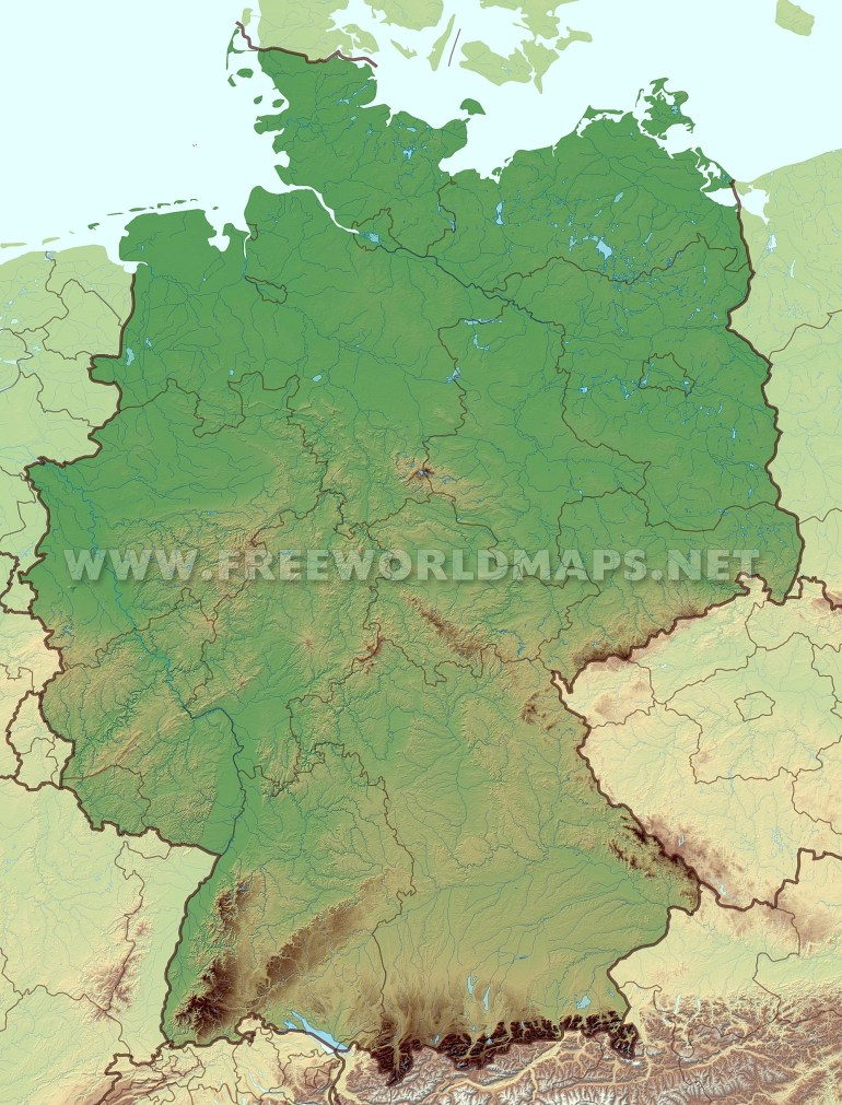 Germany Physical Map within Map Of Alps In Germany