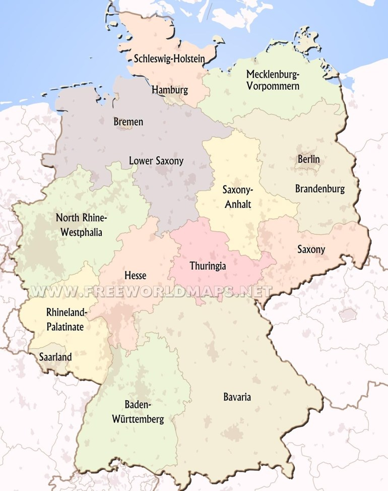 Germany Political Map in Map Of Germany And Its States
