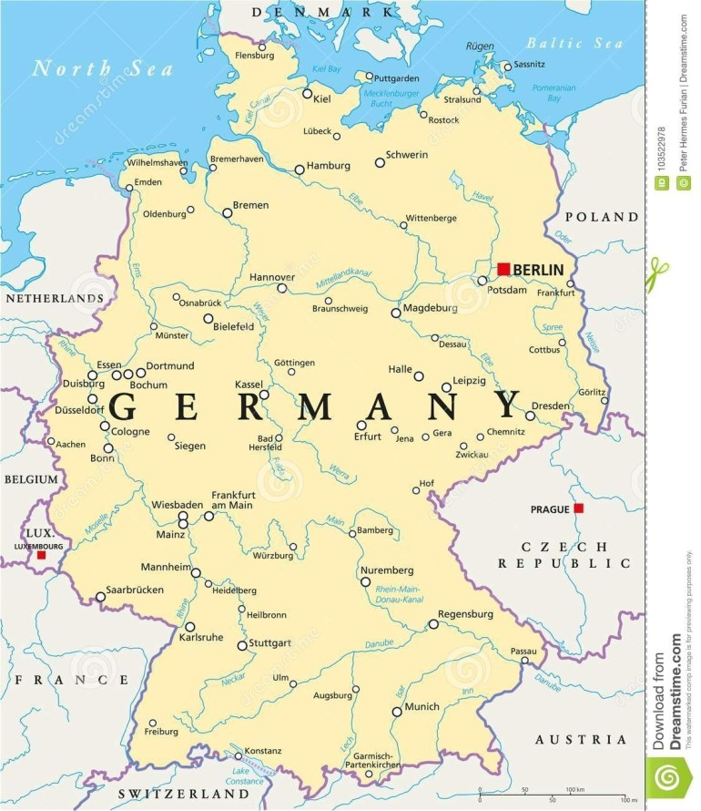 Germany Political Map Stock Vector. Illustration Of Geography within Map Of Germany And Austria In English
