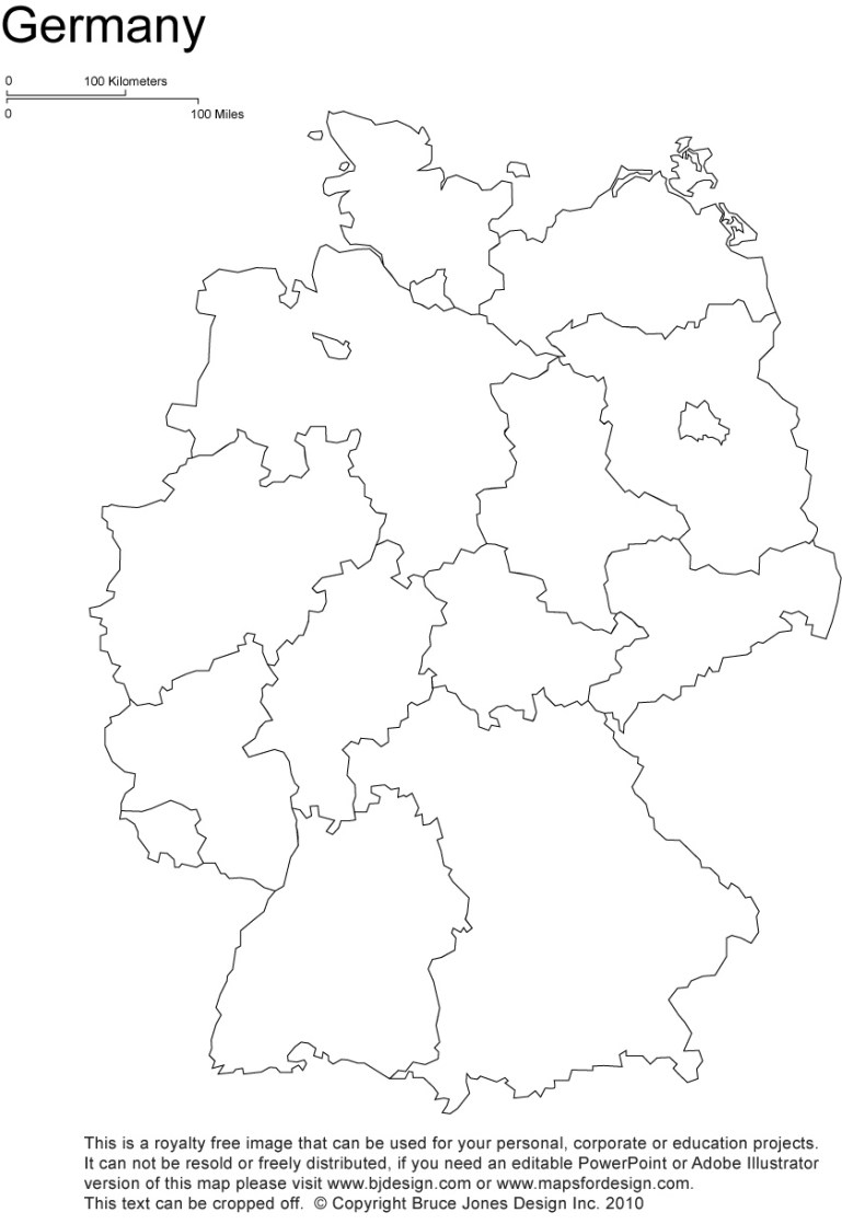 Germany Printable, Blank Maps, Outline Maps • Royalty Free for Germany Map Outline Blank