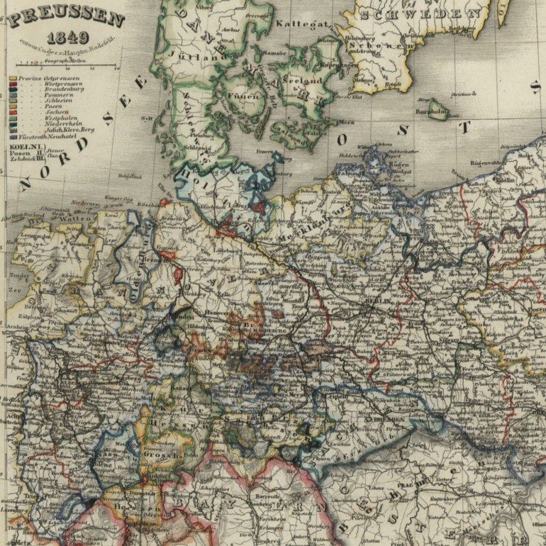 Germany Prussia Poland East Sea 1849 Meyer Detailed Map   Ebay throughout East Sea Germany Map