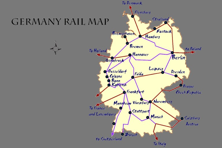 Germany Rail Map And Transportation Guide for Rail Map Germany And Austria
