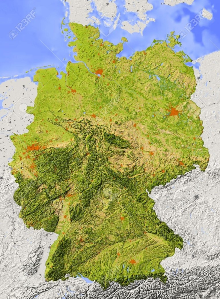 Germany. Shaded Relief Map. Surrounding Territory Greyed Out intended for Topographic Map Of Germany In English