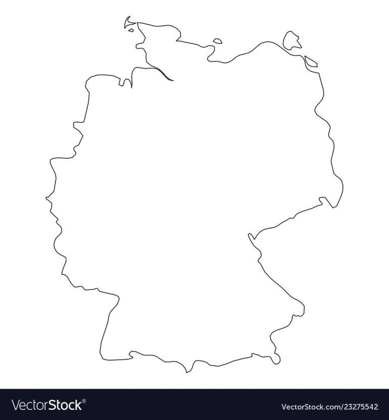Germany - Solid Black Outline Border Map Of inside Germany Map Black And White
