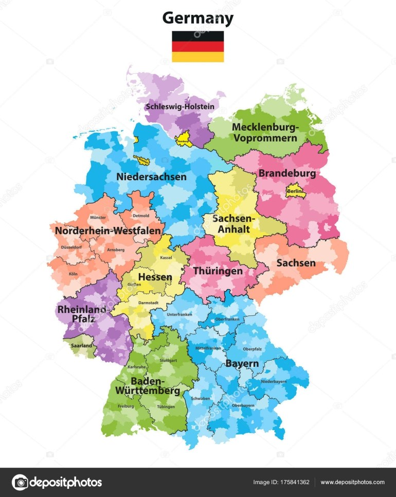 Germany States Districts Colored Vector Map — Stock Vector © Jktu_21 throughout Germany Districts Map