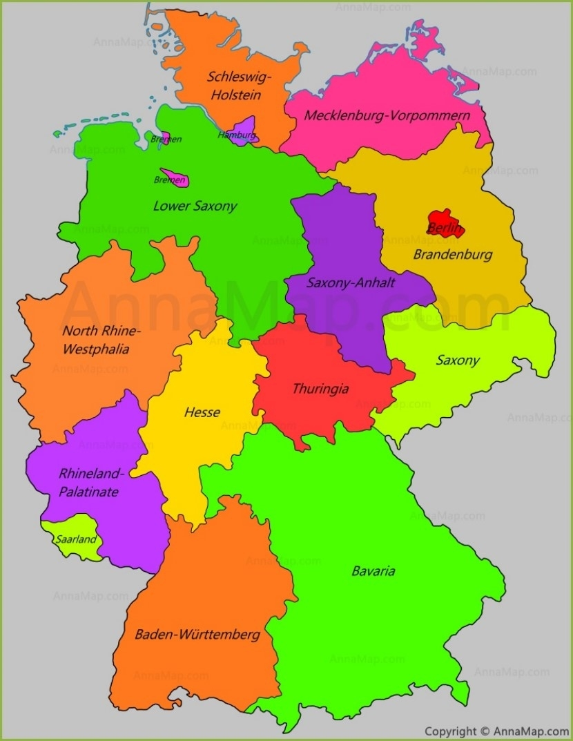 Germany States Map | States Of Germany - Annamap in Germany Map By States