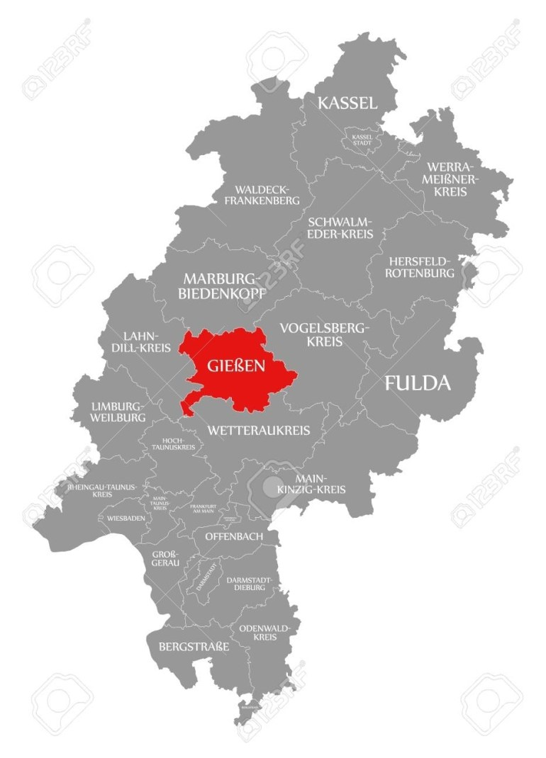 Giessen County Red Highlighted In Map Of Hessen Germany for Giessen Germany Map