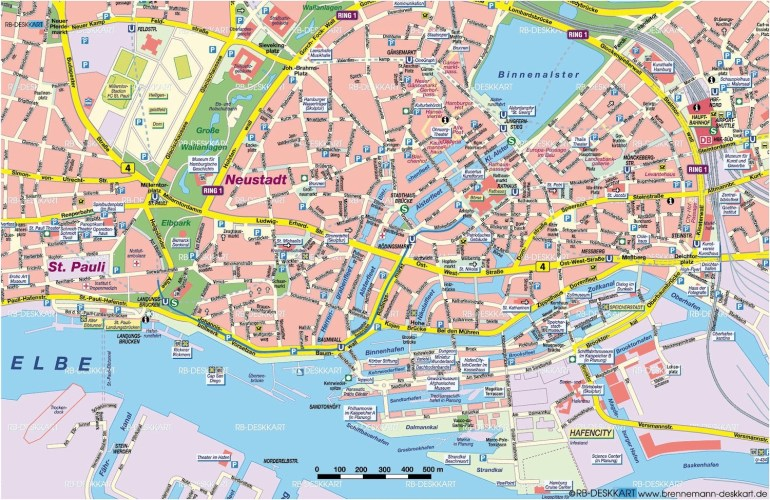 Guide To Bach Tour: Hamburg - Maps within Map Of Hamburg Germany Area