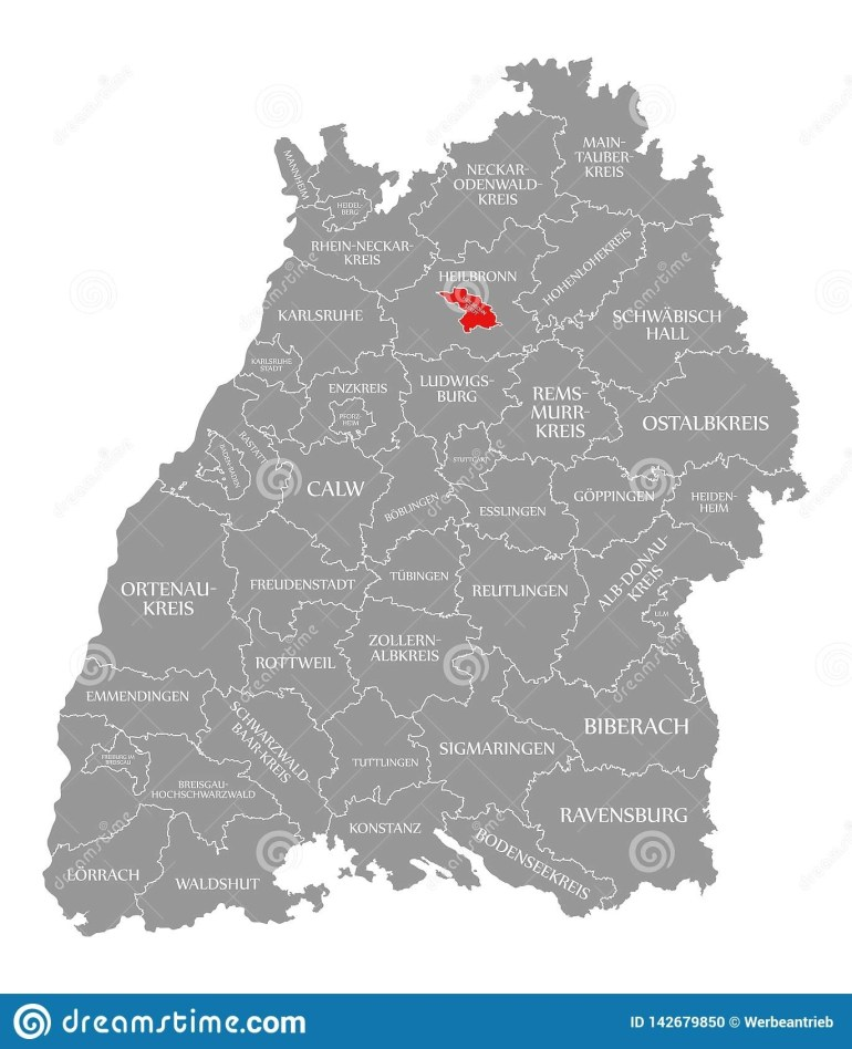 Heilbronn City County Red Highlighted In Map Of Baden Wuerttemberg with regard to Heilbronn Germany Map