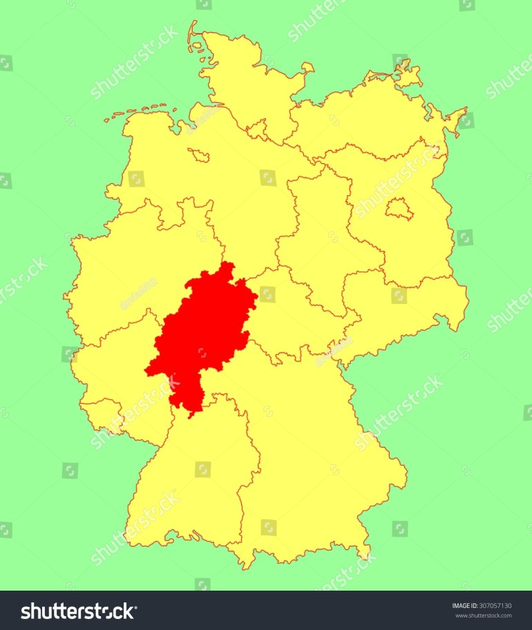 Hesse Hessen State Map Germany Vector Stock Vector (Royalty Free with Hessen Germany Map