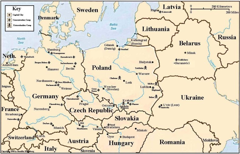 Holocaust Map Of Concentration And Death Camps with Map Of Germany With Concentration Camps