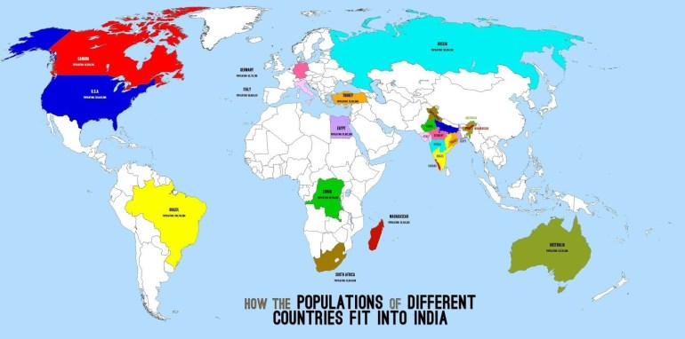 How The Populations Of Different Countries Fit Into India | India intended for World Map Germany And India