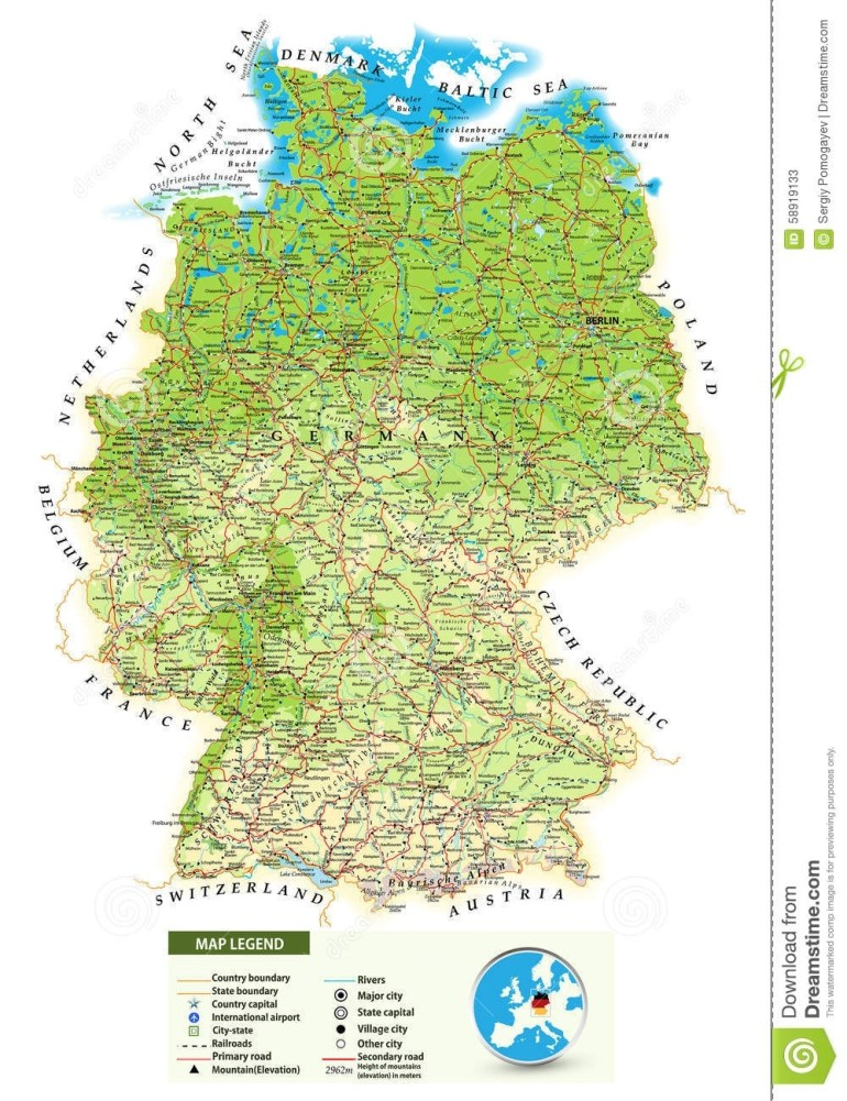 Large Detailed Physical Map Of Germany Stock Vector - Illustration pertaining to Topographic Map Of Germany In English