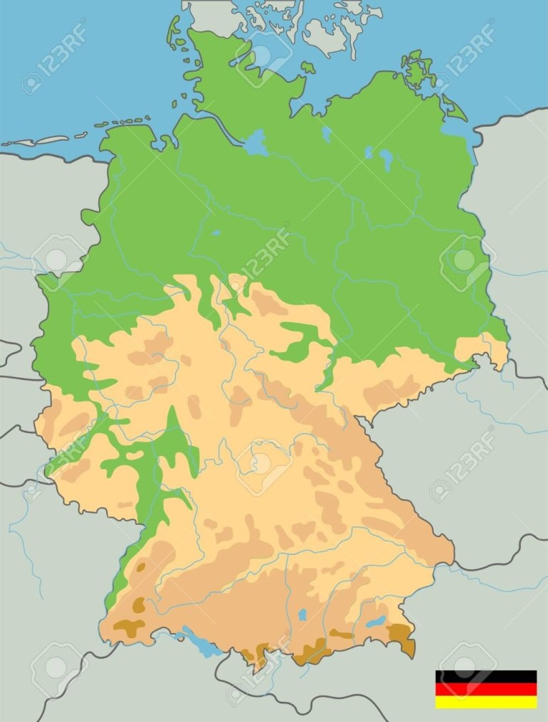 Large Detailed Topographic Map Of Germany With Contours, Lakes,.. in Germany Topographic Map