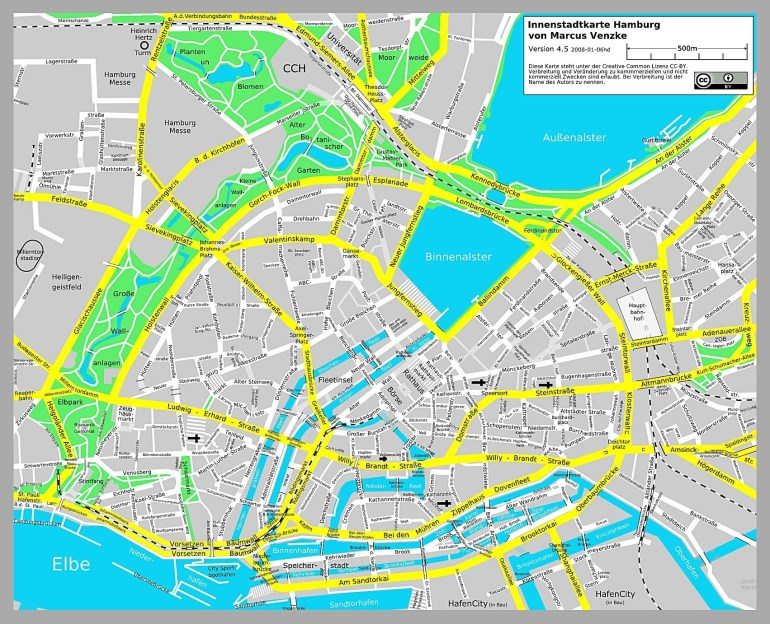 Large Hamburg Maps For Free Download And Print   High-Resolution And within Hamburg Germany Attractions Map