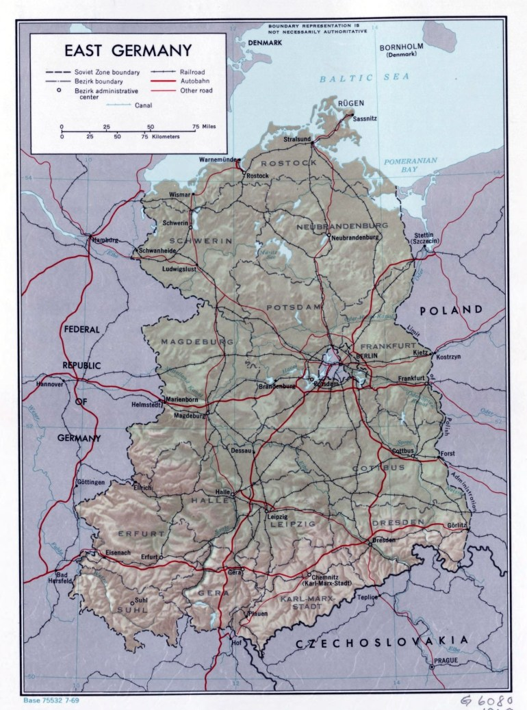 Large Political And Administrative Map Of East Germany With Relief within East Germany Map With Cities
