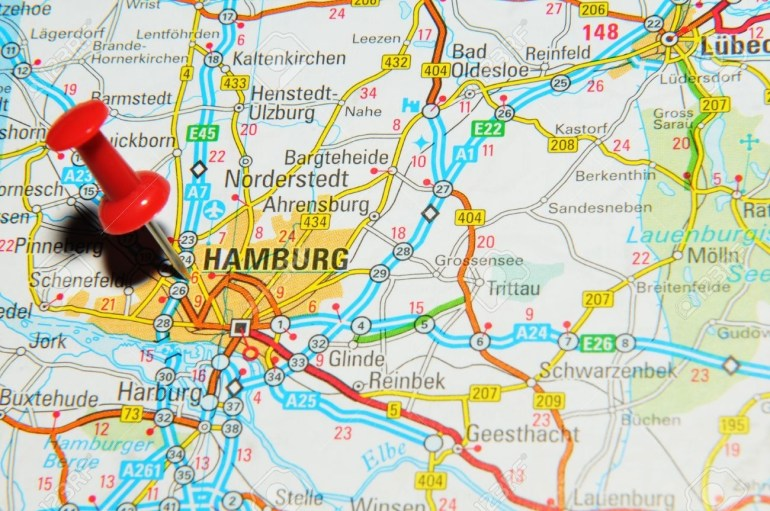 London, Uk - 13 June, 2012: Hamburg, Germany Marked With Red.. for Hamburg Germany Map Europe