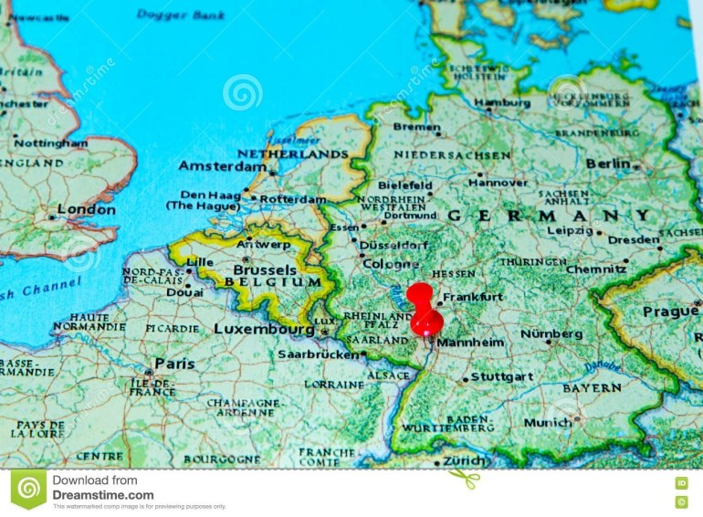 Mannheim, Germany Pinned On A Map Of Europe Stock Photo - Image Of within Cologne Germany Map Europe