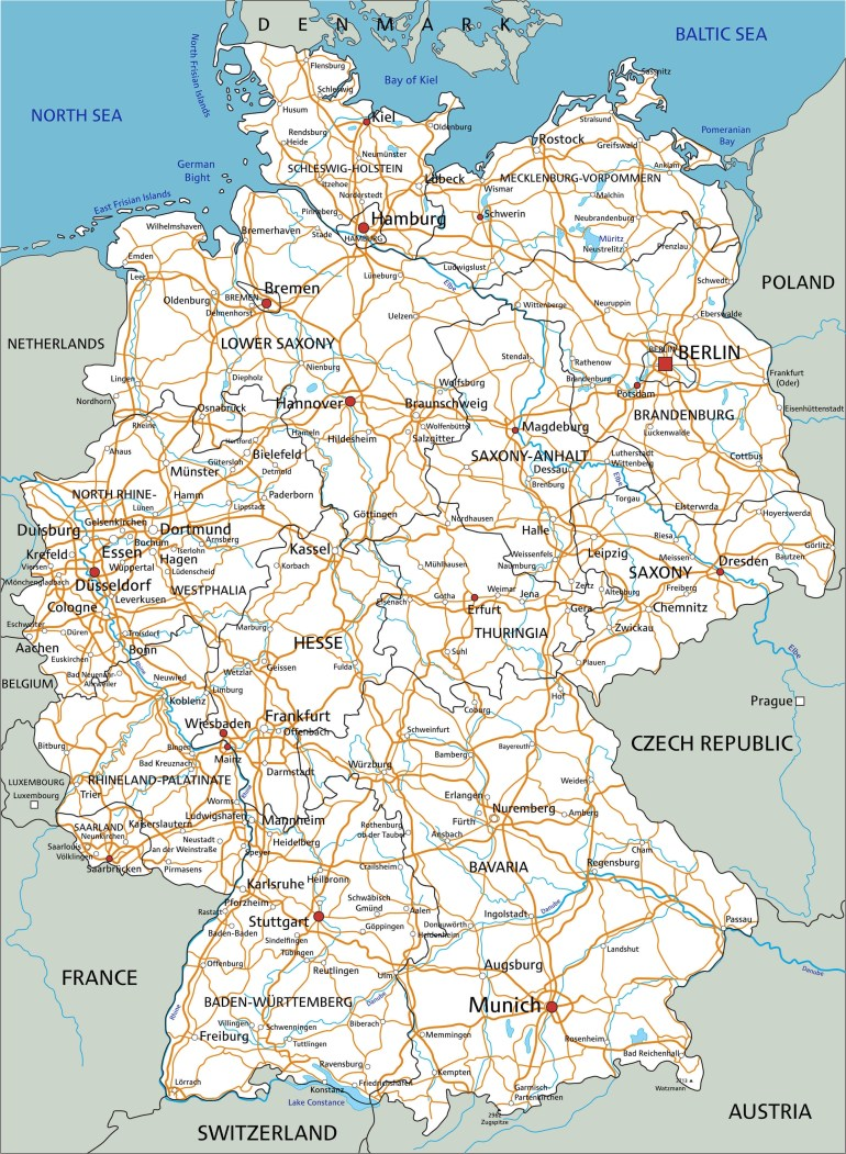 Map Germany throughout German Road Maps Free
