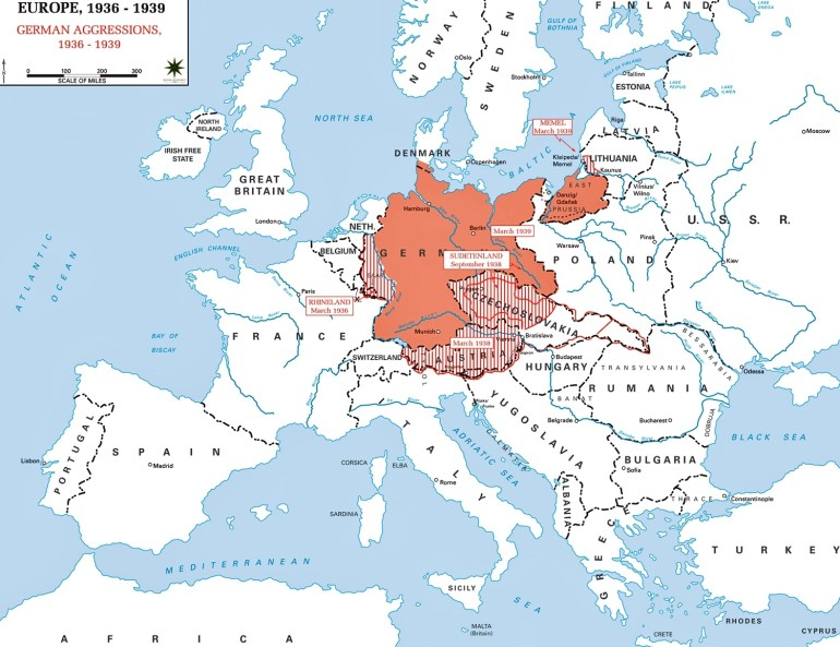 Map Of Europe 1936-1939 throughout Map Of Germany During World War 2