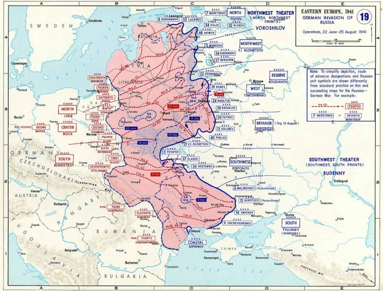 Map Of German Invasion Of Russia (June-August 1941) in Map Of Germany During World War Two