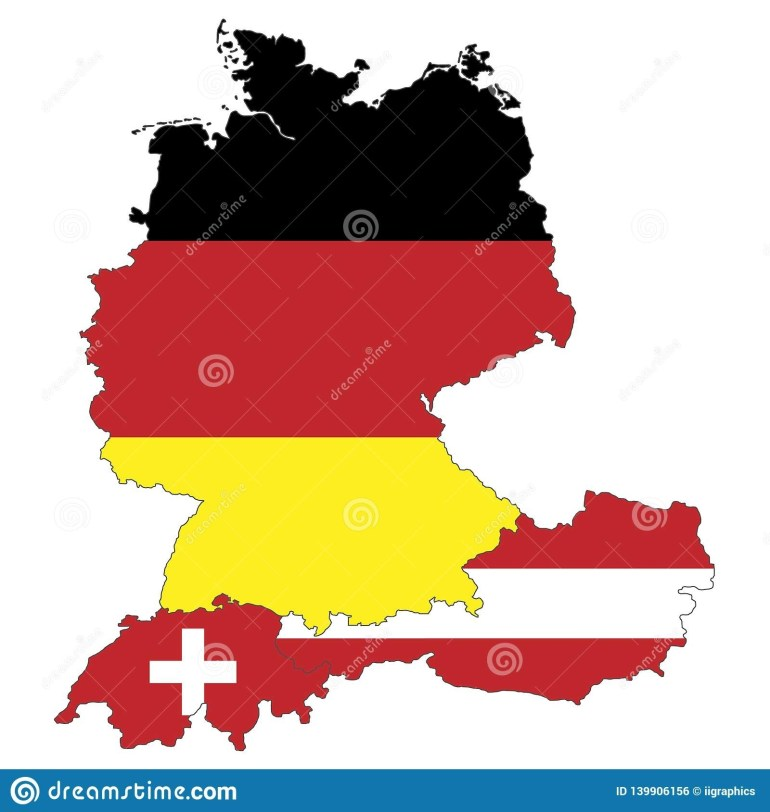 Map Of Germany, Austria And Switzerland Stock Illustration pertaining to Map Of Germany And Austria