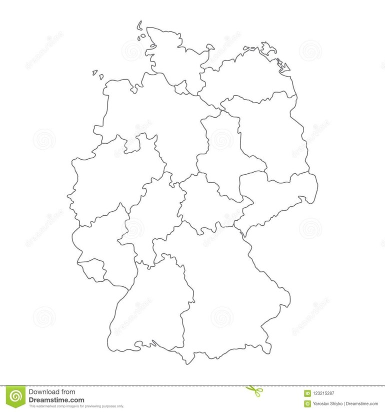 Map Of Germany Divided To Federal States And City-States. Simple inside Blank Map Of Germany With States