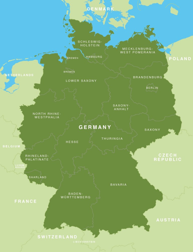 Map Of Germany - German States / Bundesländer - Maproom throughout Germany Map High Resolution