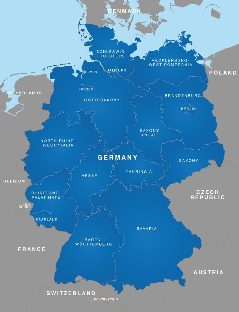 Map Of Germany - German States / Bundesländer - Maproom within Germany Map High Resolution