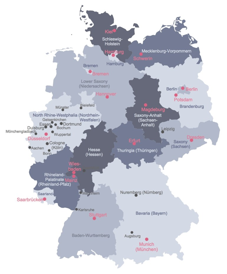 Map Of Germany throughout Map Of Germany With States And Major Cities