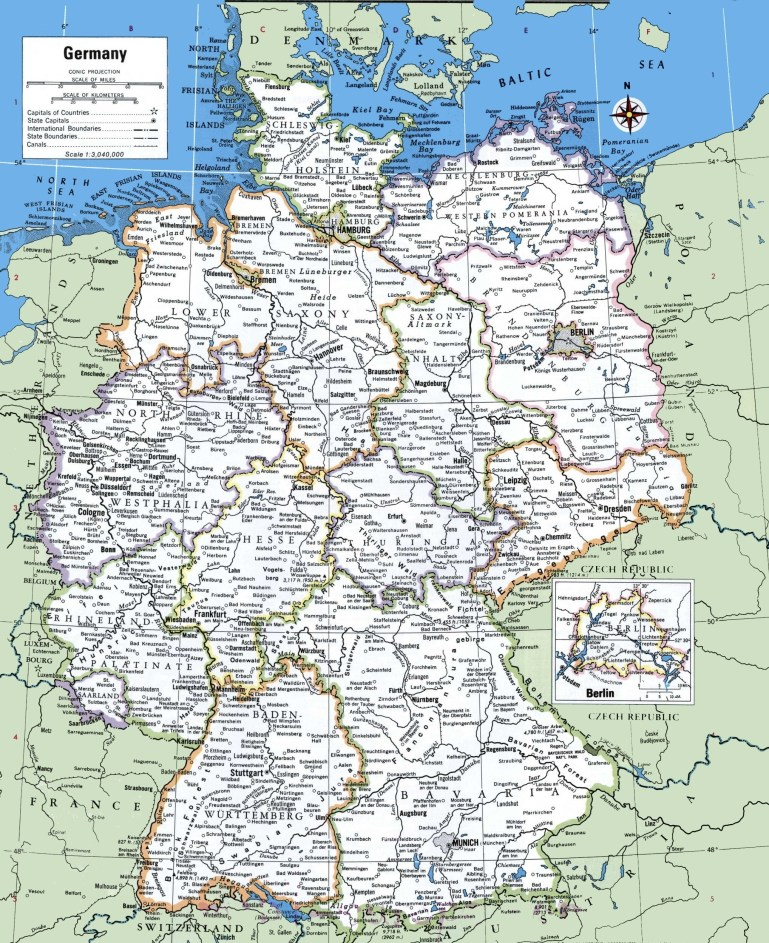 Map Of Germany With Cities And Towns for Map Of Germany And Countries Surrounding It
