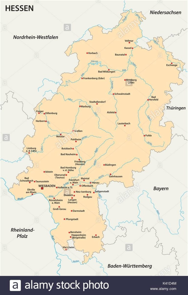Map Of Hesse Stock Photos & Map Of Hesse Stock Images - Alamy within Hessen Germany Map