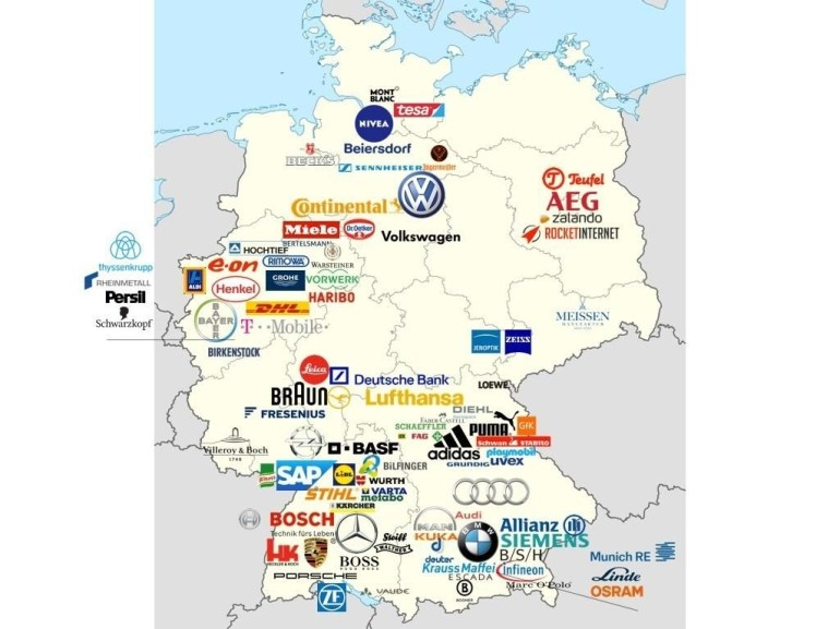 Map Of Most Valuable German Brands | Business | German Language within Map Of Germany In German Language