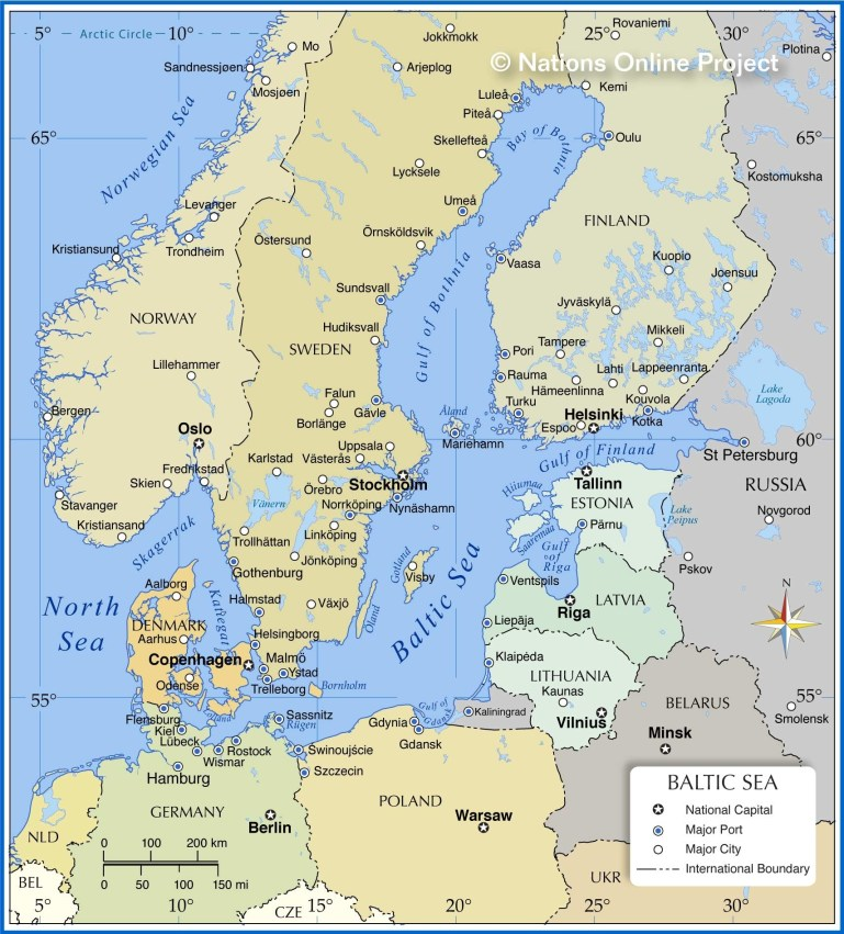 Map Of The Baltic Sea Region - Nations Online Project in East Sea Germany Map