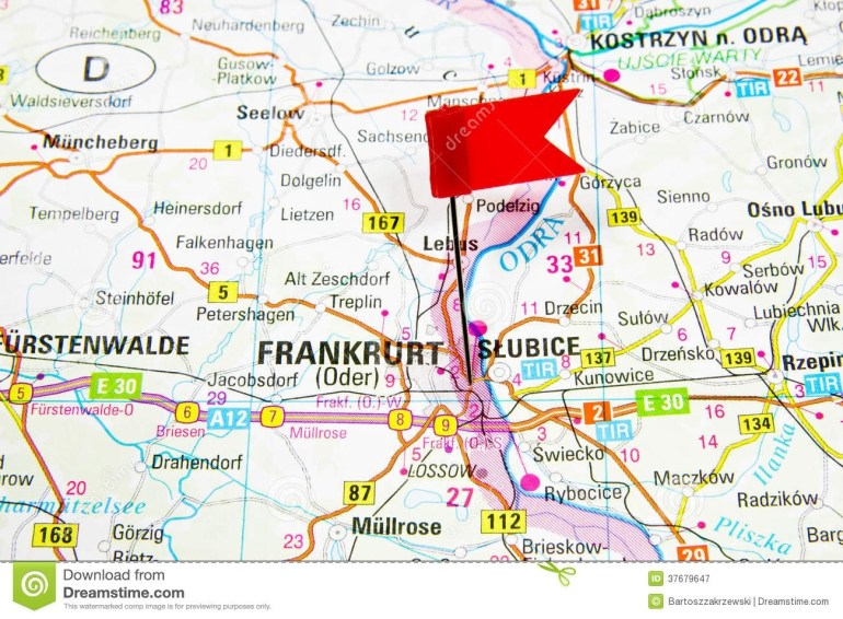 Map Of The Selected City Frankfurt, Germany - Slubice Poland Stock throughout Map Of Frankfurt Germany Area