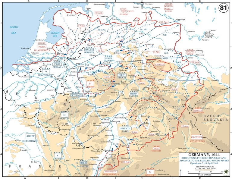 Map Of Wwii: Germany April 1945 for Map Of Germany After Ww2