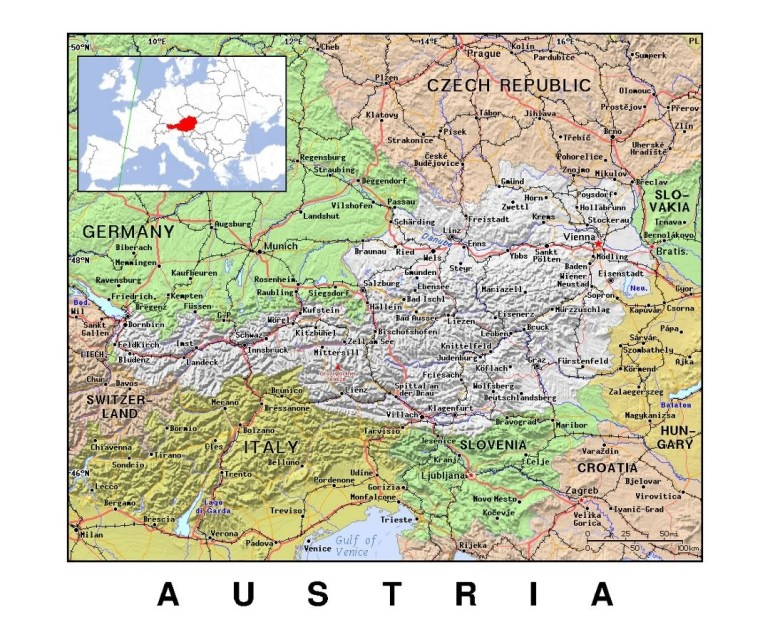 Maps Of Austria | Collection Of Maps Of Austria | Europe | Mapsland inside Map Of Germany Austria Czech Republic And Hungary