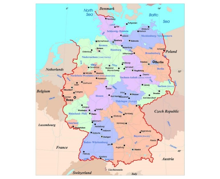 Maps Of Germany | Collection Of Maps Of Germany | Europe | Mapsland pertaining to Physical Map Of Germany In English