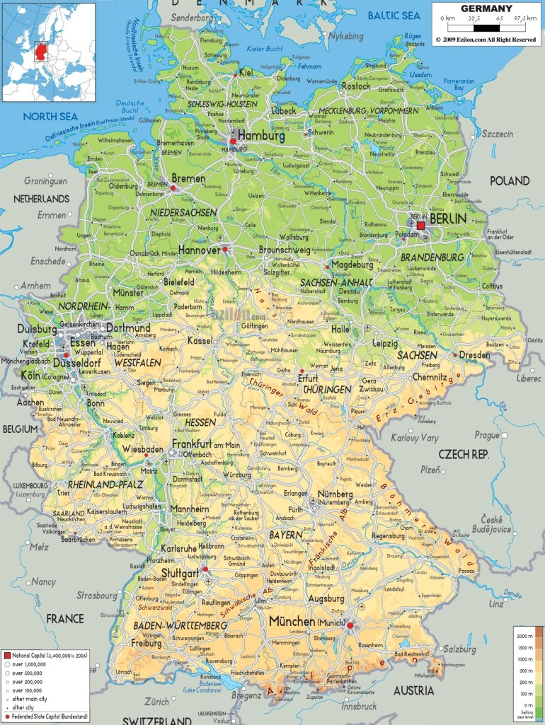 Maps Of Germany | Detailed Map Of Germany In English | Tourist Map for Map Of Germany In English
