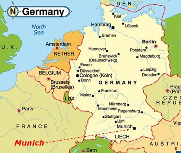 Munich Map Europe - Map Of Munich Europe (Bavaria - Germany) with Cologne Germany Map Europe